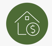 Green circle with white outline of house and dollar sign inside