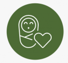 Green circle with white outline of swaddled baby next to heart inside