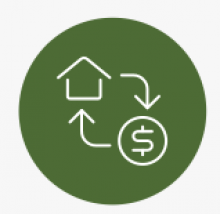 Green circle with white outline of house and dollar sign cycle inside