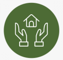 Green circle with white outline of house being held up by outline of white hands inside