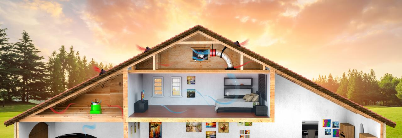 QuietCool breezy indoor diagram of whole-house fan