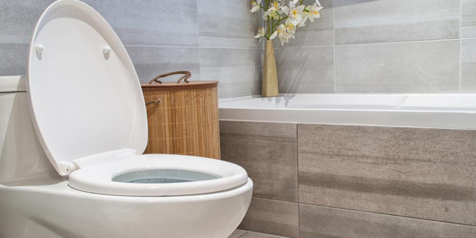 Toilet in modern looking bathroom